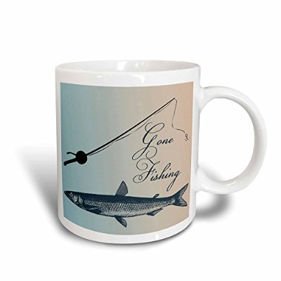 (330ml Magic Transforming Mug) - 3dRose mug_99326_3 Gone Fishing Fish with Pole- Beach Theme Art...