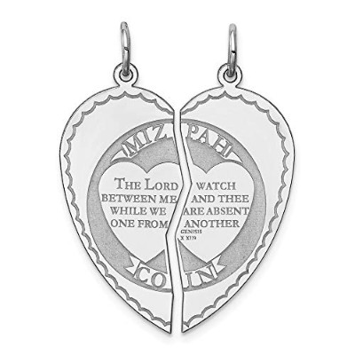 Beautiful Sterling silver 925 sterling Sterling Silver Rhodium-plated Breakapart Mizpah Charm comes...