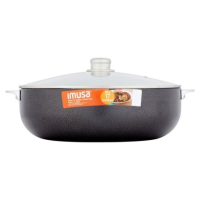 IMUSA 14.5-quart Caldero Nonstick withガラス蓋、チャコール