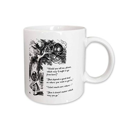 (440ml) - 3dRose mug_193784_2 Which way ought I go from here Chesire cat Alice in Wonderland quote...