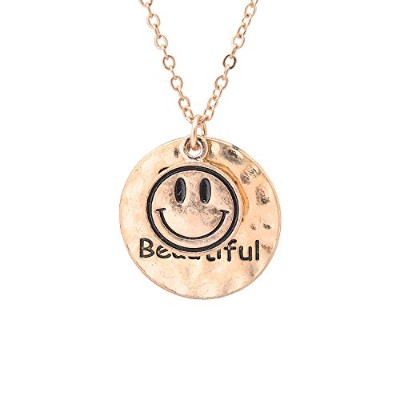 Hammered Round Smiley Face With Smile , you are beautiful quoteネックレス