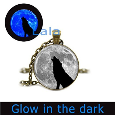 glowlala @ Wolf and Moon Glowingネックレスグローin theダークブラックWolf and Glow Moon GlowingジュエリーGlowing...
