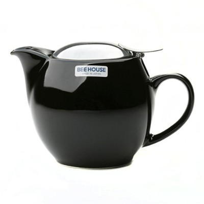 (Black) - Bee House Black Round Teapot - 440ml