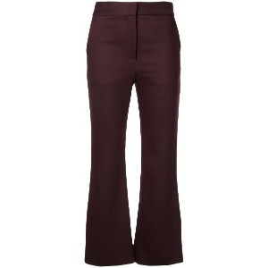 Adam Lippes cropped flared trousers - Burgundy