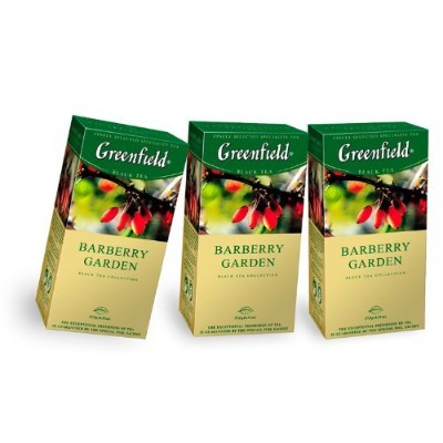 [Pack of 3] Greenfield Black Tea Collection - Barberry Garden (25 Count Tea Bags) by Greenfield