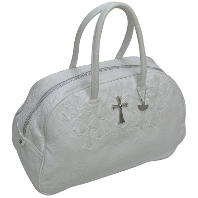 CHROME HEARTS MEDIUM WHITE GYM BAG LARGE CROSS / CEMETERY CROSS PATCHES W/CHARM クロムハーツ ジムバッグ...