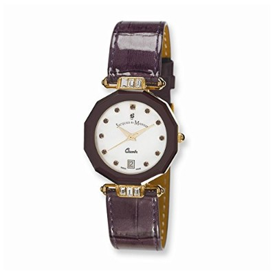PerfectジュエリーギフトLadies Jacques Du ManoirパープルストラップCrystal Accent Watch