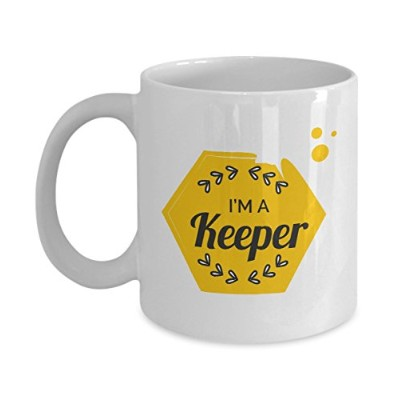 """Candid Awe–Gifts for Bee Lovers :「I ' m a Keeper """"養蜂養蜂Honey Bee 11オンス、ホワイトマグ、セラミックコーヒーカップ"""