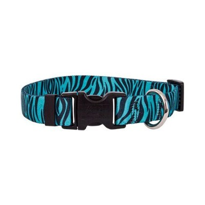 Zebra Teal/Black Dog Collar - Size Large 18 to 28 Long - Made In The USA by Yellow Dog Design
