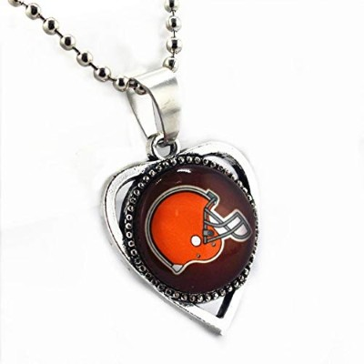 Cleveland Browns Casual Zinc Alloy Football Team Alloy Glass Pendant Silver Beads Chains Necklace ...