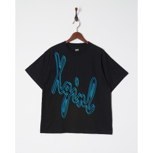 X-girl LAYERED CHEWY LOGO S/S MENS TEE○5182102 Black トップス