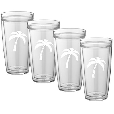 (650ml, Palm Tree) - Kraftware Kasualware Collection Palm Tree Doublewall Drinkware, 650ml - Set of...