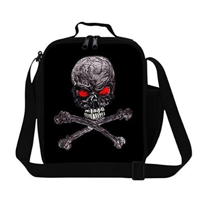 Generic Fashion Adult Skull Lunch Bag for Work Personalized Polyested Sling Picnic Food Bag for...