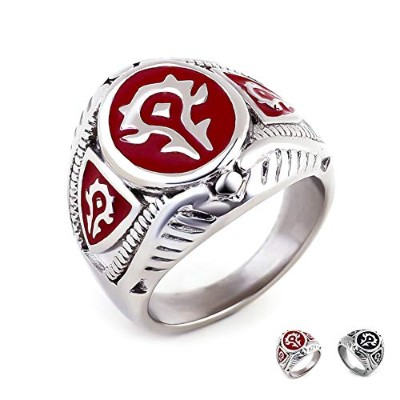 Excow Jewelry World of Warcraft Horde バッジ リング ステンレススチール ゲーマーバンド レッド