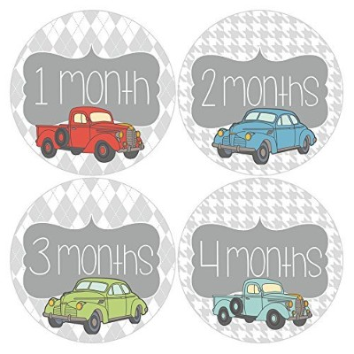 Gift Set of 12 Round Keepsake Photography Monthly Baby Stickers with Vintage Cars and Trucks...