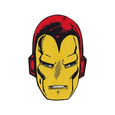 """IRON MAN HEAD, Officially Licensed, Iron-On / Sew-On, 6.8"""" x 10"""" Embroidered PATCH パッチ"""