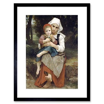 William Adolphe Bouguereau Breton Brother Sister Framed Wall Art Print 壁