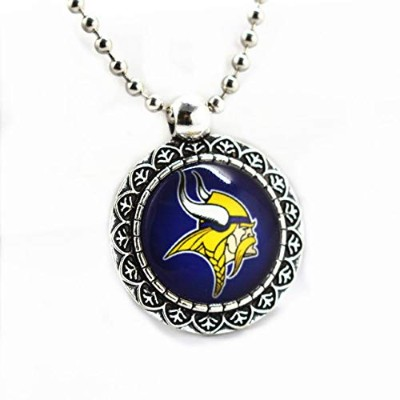Round Casual Sporty Glass Alloy Pendant Minnesota Vikings Football Sports Team Chains Necklace ...