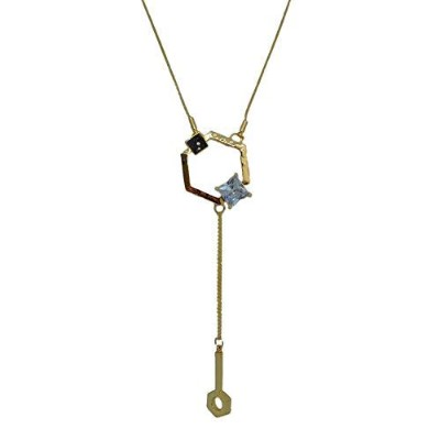 AriaSparkles Gold Hexagon Long Chain Casual Party Western Office Necklace