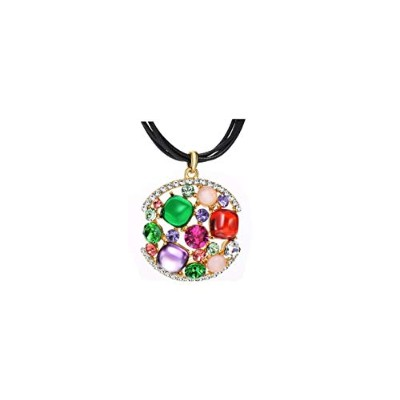 Rhinestone & Zircon Pendant Colorful Geometric Style Long Black Rope Alloy Plated Necklace For...