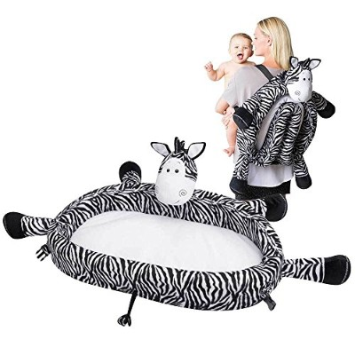 Baby Travel Bed - Portable Toddler Lounge Folds Into Backpack For Sleep, Travel, And Play - Zebra...
