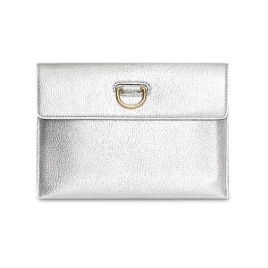 Burberry D-ring Metallic Leather Pouch with Zip Coin Case - シルバー