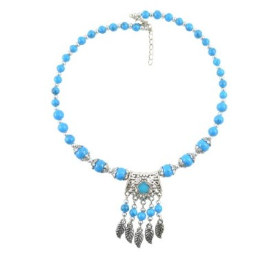 Diovanni Women 's My Dil Goes Blu - Blu - Colourful刻印ネックレスブルーandシルバー