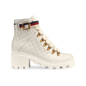 Gucci Quilted leather ankle boot with belt - ホワイト