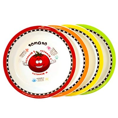 Healthy Kiddos教育Fruit and VegetableプレートTeach Kids栄養のメリットFruits and Veggies レッド PLATES