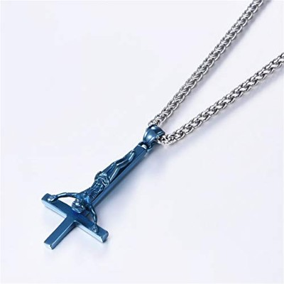 Blue Inverted Cross Gothic Satanic Upside Down Cross of St. Peter Pendant Necklace [並行輸入品]