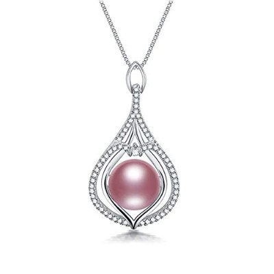 Purple Pearl Freshwater Real High Luster Slide Pendant Necklace