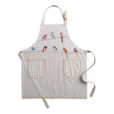 Maison d' Hermine Birdies on Wire 100% Cotton Apron with an adjustable neck & two side pockets,...