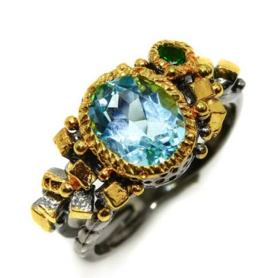 Popular jewelry Natural Blue Topaz 9x7mm. 925 Sterling Silver Ring Fashion 人気のジュエリーナチュラルブルートパーズ9x7mm...