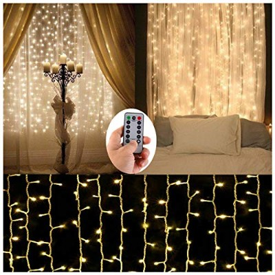 (Warm White) - Battery Operated Curtain String Lights,300 LED Icicle Window Background Fairy Lights...