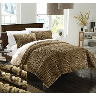Chic Home 7 Piece Alligator NEW FAUX FUR COLLECTION! With Mink like backing in Alligator Animal...