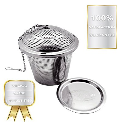 Stainless Steel Tea Infuser Strainer & Steeper Extra Fine Mesh Filter for Loose Leaf Tea Brewing...