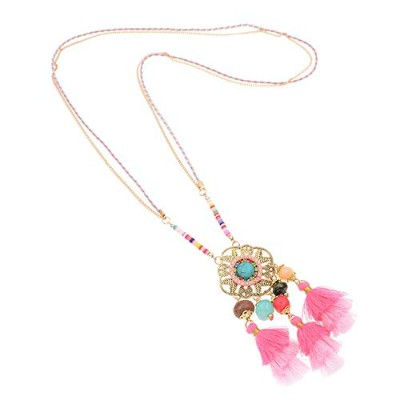 Pink Colorful Bohemian Tassel Statement Stone Rope Chain Pendant Necklace [並行輸入品]
