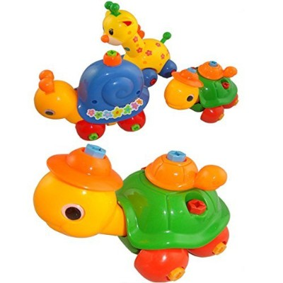 4 Pack Removable Animals Disassembly Toy Giraffe Bunny Turtle Snail Plastic Funny Toys Best Xmas...