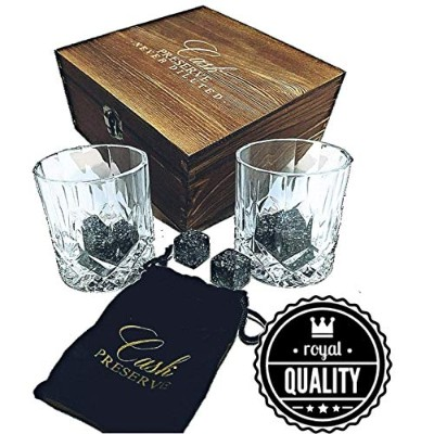 Whiskey Stones Gift Set - 8 Granite Whisky Rocks & 2 Crystal Whiskey Glasses & Velvet Bag in...
