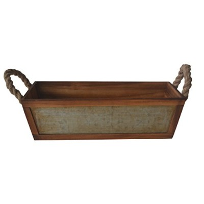 Cheungs Home Decorative Galvanized Front Tapered Wooden Storage Container with Side Rope Handles by...
