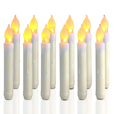 Homemory 12PCS Battery Operated Flameless LED Taper Candles Lights, 2cm x 17cm , for Wedding,...