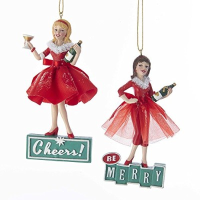"""Kurt Adler 4.5"""" Mid世紀スタイルガールズOrnaments Set of 2Be Merryと乾杯Cocktails"""