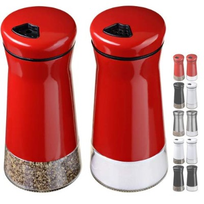 (Red) - CHEFVANTAGE Salt and Pepper Shakers Set with Adjustable Holes - Red
