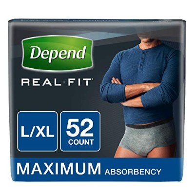 Depend Real Fit Incontinence Briefs for Men, Maximum Absorbency, L/XL, 52 Count by Depend