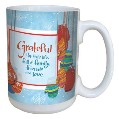 Tree-Free Greetings lm43465 Wintry Mittens and Gratitude by Robin Pickens Ceramic Mug with Full...
