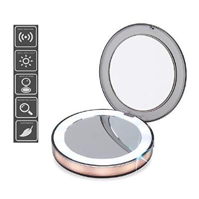 LED Light Mini Makeup Mirror 3X Magnifying Compact Travel Portable Sensing Lighting Makeup Mirror...