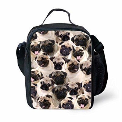 instantarts Funnyハスキーパグ犬パズル印刷キュートInsulated Lunch Bag for School 24x19x8CM P-CC3211G