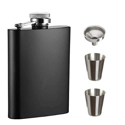 240ml Hip Flask with 1 Funnel, 2 Short Glass and Gift Box for Liquor - Premium 304 Stainless Steel ...