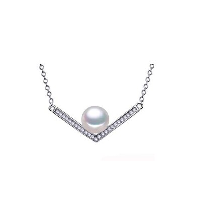 Fashion Freshwater White Pearl Pendant with Necklace Chain [並行輸入品]
