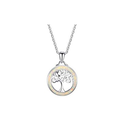 Tree of Life Sterling Silver White Opal Pendant Necklace [並行輸入品]
